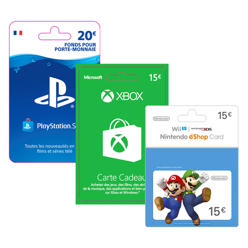 Les Cartes Nintendo, Xbox, Playstation